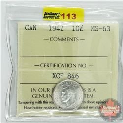 Canada Ten Cent : 1942 (ICCS Cert MS-63)