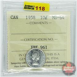 Canada Ten Cent : 1958 (ICCS Cert MS-64)