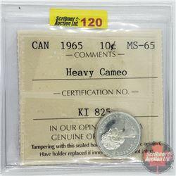Canada Ten Cent : 1965 Heavy Cameo (ICCS Cert MS-65)