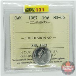 Canada Ten Cent : 1987 (ICCS Cert MS-66)