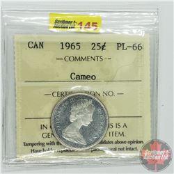 Canada Twenty Five Cent : 1965 Cameo (ICCS Cert PL-66)