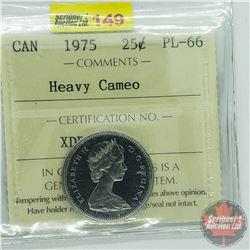 Canada Twenty Five Cent : 1975 Heavy Cameo (ICCS Cert PL-66)