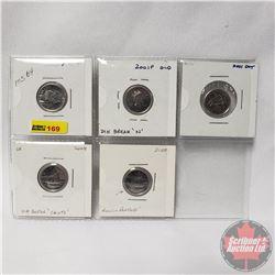 """Canada Ten Cent - Sheet of 5: 2001P; 2001P Old Die Break """"N""""; 2001 Dot; 2008 Die Break """"Cents"""" ; 200"""