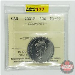 Canada Fifty Cent : 2001P (ICCS Cert MS-66)