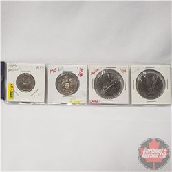 Canada Coins - Strip of 4: 25¢ 1973 Sm Bust; 50¢ 1978; $1 Cameo 1978; 1980