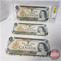 Canada $1 Bills 1973 : 3 Sequential (Crow/Bouey S/N#ECJ0660245-46-47)