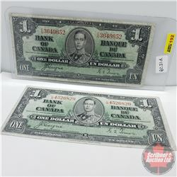 Canada $1 Bills 1937 : (Coyne/Towers S/N#EN3649652 & Coyne/Towers LN4526829)