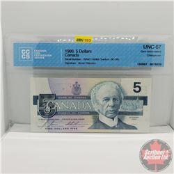 Canada $5 Bill 1986 Changeover (CCCS Cert UNC-67) Gem Uncirculated (Bonin/Thiessen S/N# GPW2178369)