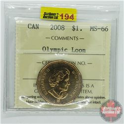 Canada $1 Olympic Loon 2008 (ICCS Cert MS-66)