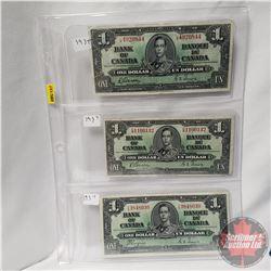 Canada $1 Bills 1937 - Sheet of 3: Gordon/Towers L/M4920844 ; Gordon/Towers CM1100132; Coyne/Towers