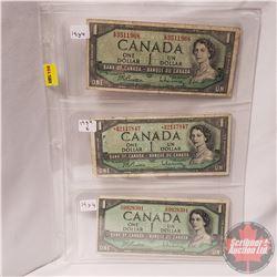 Canada $1 Bills 1954 - Sheet of 3 (All Beattie/Rasminsky): EP3511968; *BM2117847; VN9928391