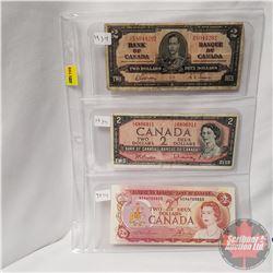 Canada $2 Bills - Sheet of 3: 1937 (Gordon/Towers R/B8044292); 1954 (Beattie/Rasminsky Y/U6896911);
