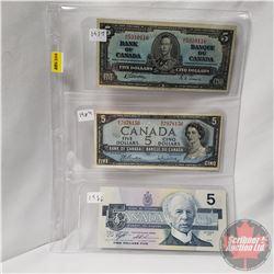Canada $5 Bills - Sheet of 3: 1937 (Gordon/Towers M/C5310116); 1954 (Beattie/Rasminsky W/S7978156);
