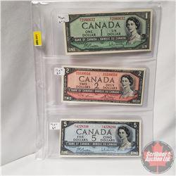 Canada Bills 1954 - Sheet of 3: $1 (Beattie/Rasminsky N/Y2980632); $2 (Lawson/Bouey R/G5599556); $5