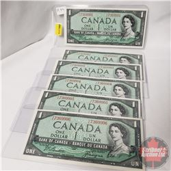 Canada $1 Bills 1954 (6 Sequential Beattie/Coyne) T/L7369901-02-03-04-05-06