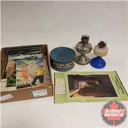 Tray Lot: 2 Coal Oil Lamps, Marshmallow Tin & Old Calendars