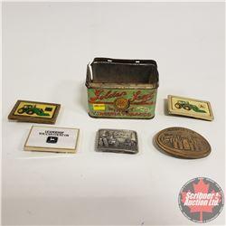 Tobacco Tin (Golden Seal) w/Contents (5 John Deere Belt Buckles)