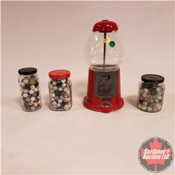 Gumball Machine w/3 Jars of Marbles