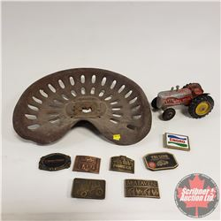 Implement Seat & Massey Harris Toy Tractor & Variety Belt Buckles (7)