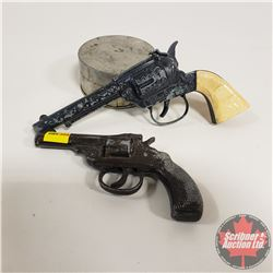 2 Toy Pistols (1 is Buffalo Bill) & CPR Grease Tin
