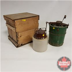 Egg Crate, Ice Cream Maker & Pickle Crock