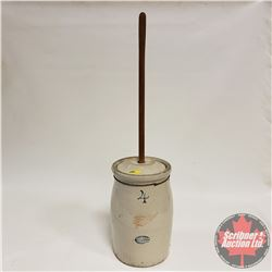 4 Gallon Red Wing Butter Churn (Cracks) with Lid & Paddle