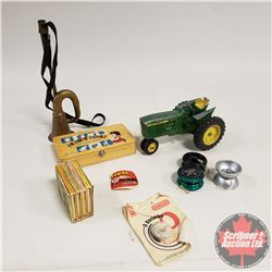 Tray Lot: Toy Tractor (John Deere); Yo Yo's (3); Bicycle Horn;  Pooh's Pot O'Honey  Mini Book Set, C