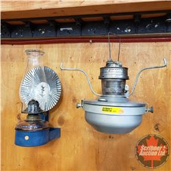 Wall Mount Oil Lamps (2):  Blue Holder/Purple Glass Base & Reflector AND Aladdin No 2 (No Shade/No C