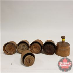 Round Wooden Butter Press Collection (6) Variety of Patterns