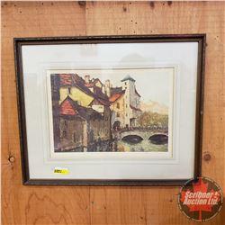 Framed Print - Signed (European Town/River Scene)