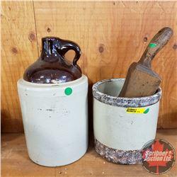 Crock, Shoulder Crock Jug & Wooden Treenware Mallet
