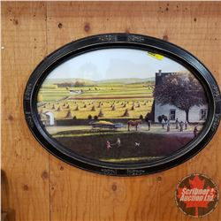 Antique Oval Picture Frame w/Harvest Picture