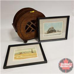 "Wooden Magazine Rack with 2 Framed Prints ""Weber"" (Prints = 12"" x 15"")"