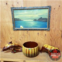 Blue Mountain Pottery (3) Golden Harvest (Bear, Bowl & Dolphin) AND Framed Antique Pastel Painting (