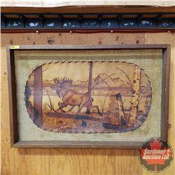 "Framed Leathercraft Art ""Moose"" (31"" x 32"")"