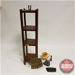 Wooden Standing Ashtray w/Brass Cigar Holder, Pipe Holder, Leather Tobacco Humidor, etc