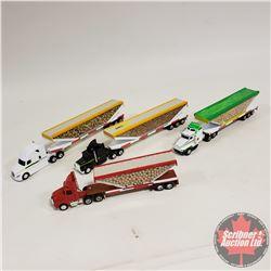 Group of 4 Toy Semi Trucks & Custom Trailers  (1/64 Scale)