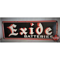 "1954 Exide Battery Embossed Sign (39-1/2"" x 13-1/2"")"