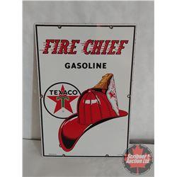 """1962 Texaco Fire Chief Porcelain Pump Plate (18"""" x 12"""")"""