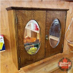 """Oak Wall Mount Cabinet w/Oval Bevel Mirror Doors (22""""H x 25""""W x 7""""D)"""