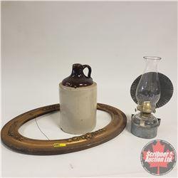 Oval Plaster Case Picture Frame & Shoulder Crock Jug & Wall Mount Oil Lamp w/Reflector
