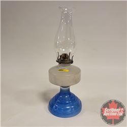 Coal Oil Lamp: White Frost/Blue Base
