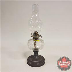 Coal Oil Lamp: Clear Glass/Tin Base