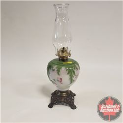 Coal Oil Lamp: Brass Footed / Green&Milk Frost