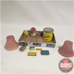 Tray Lot: Measuring Cups (3), Confectioner & Apothecary Tins, Light Shades