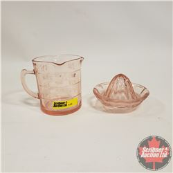 """Pink Depression Glass Measure Cup """"Kellogg's"""" & Juice Reamer"""