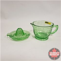 Vaseline Glass Measure Cup & Juice Reamer