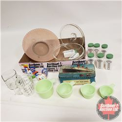 Tray Lot: Milk Glass Spice Containers, Jadeite Nesting Measure Cups, S&P, Measure Cups (2), Lidded D