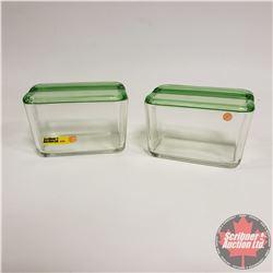 Pair of Refrigerator Covered Glassware w/Vaseline Glass Lids !