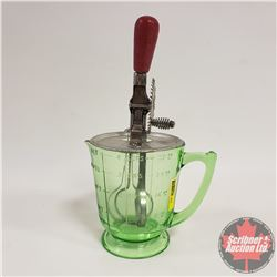 Vaseline Glass 4 Cup Measure Cup w/Beater Lid